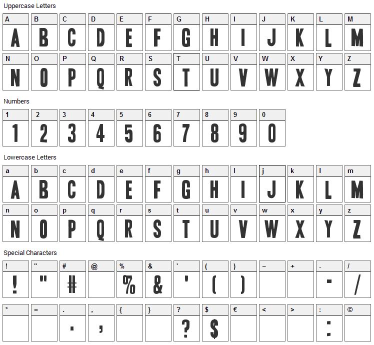 Vive la Rivoluzione Font Character Map