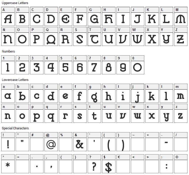 Vlaanderen Font Character Map
