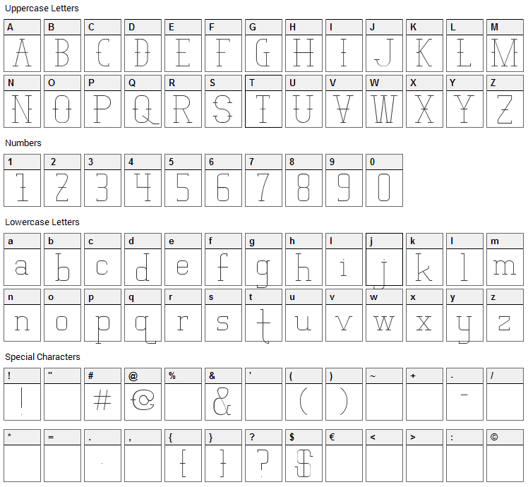 Vloderstone Font Character Map