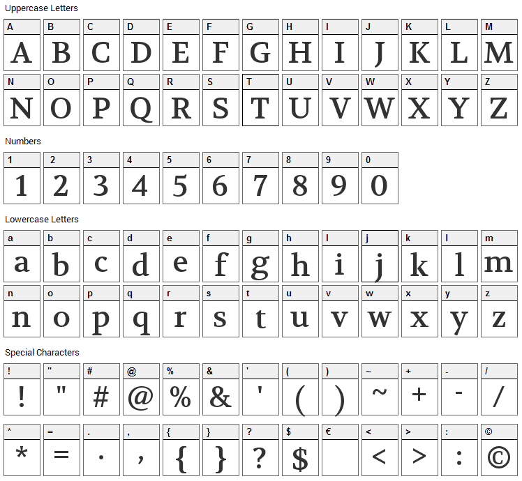 Volkhov Font Character Map