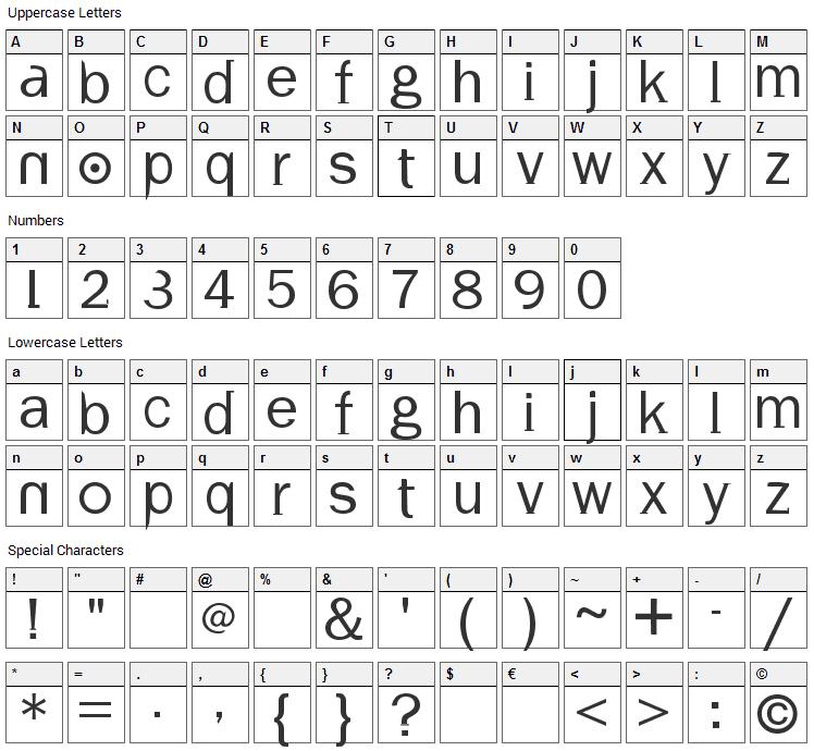 Volt Font Character Map