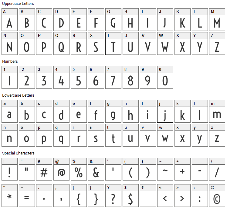 Voltaire Font Character Map