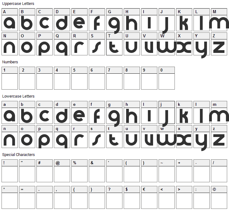 VomZom Font Character Map