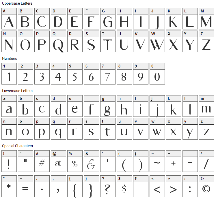 Vonni Font Character Map