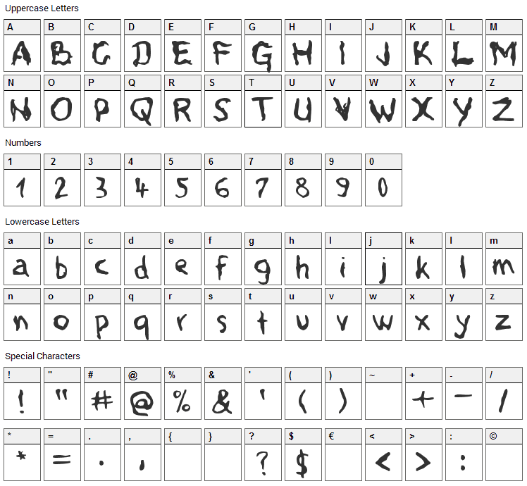 Voodoo Spirits Font Character Map