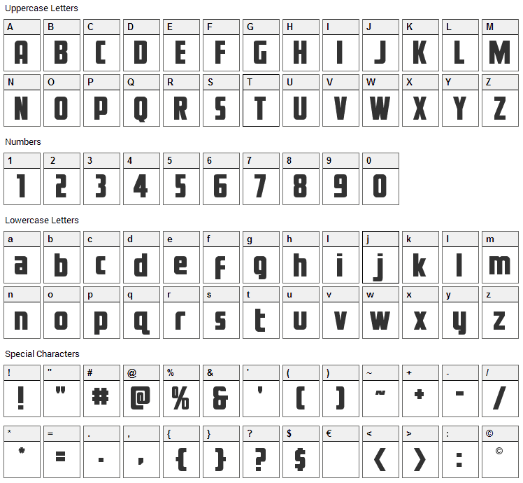 Voyage Fantastique Font Character Map