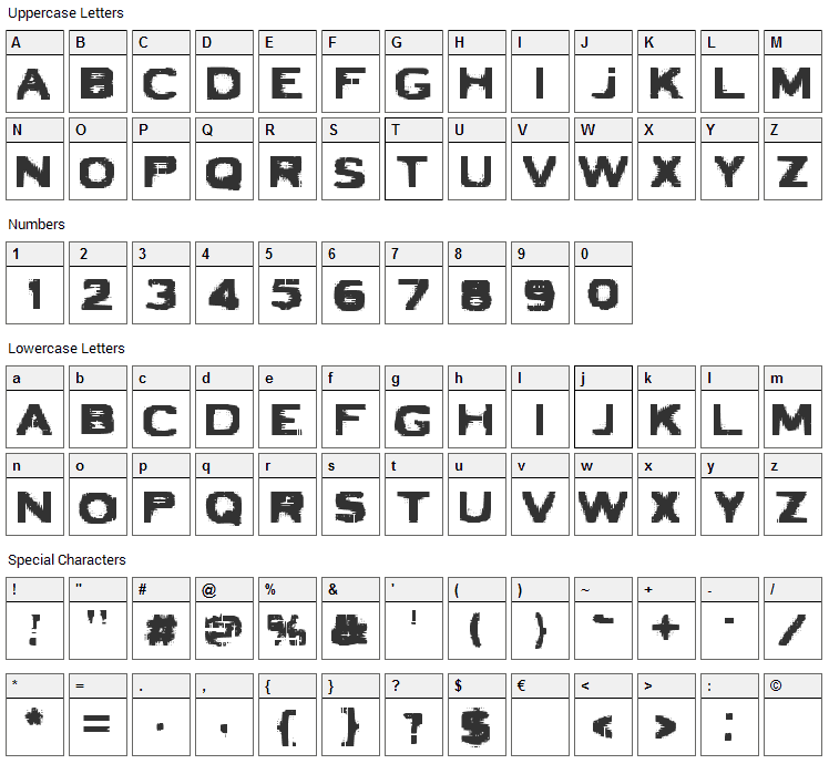 VTC Bad Luck Font Character Map