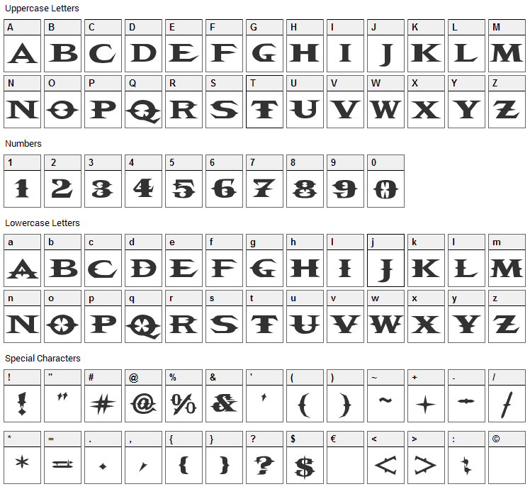 VTC Belias Blade Font Character Map