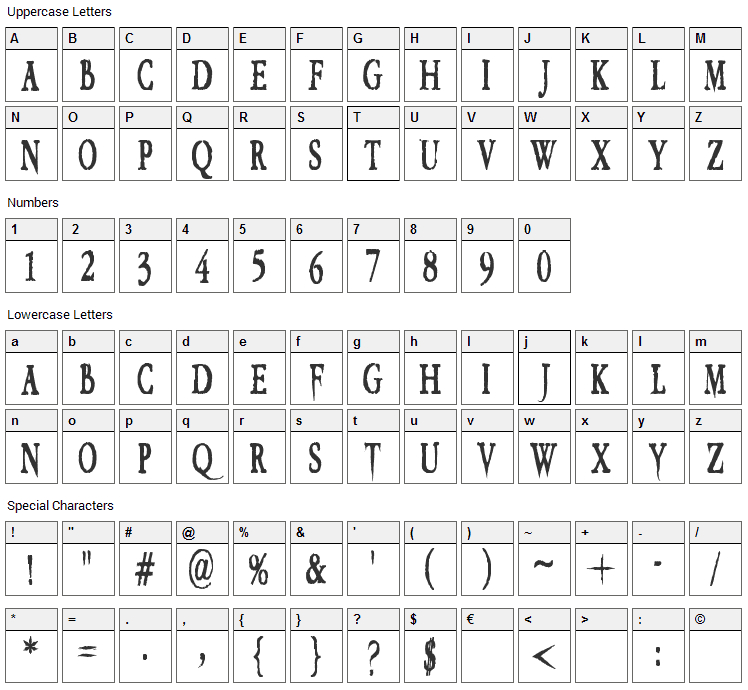 VTC Embrace Font Character Map
