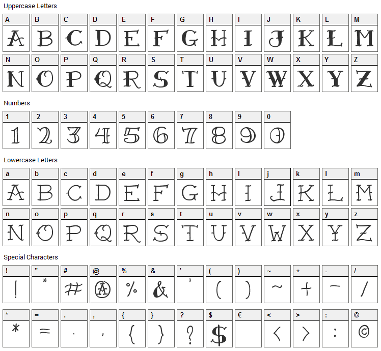 VTC Freehand Tattoo One Font Character Map