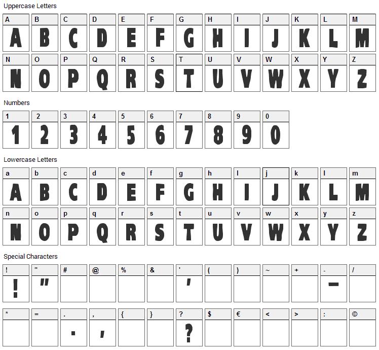 VTC Komika Head Liner Font Character Map