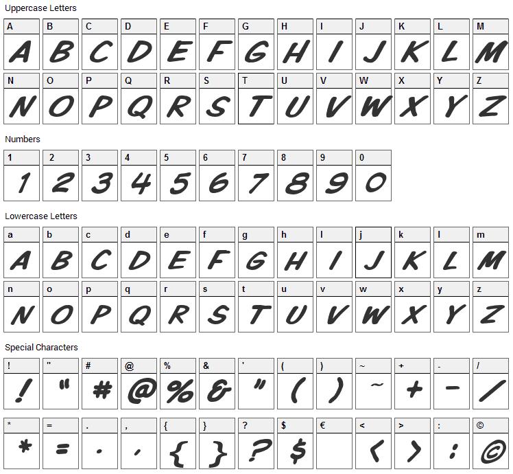 VTC Komixation Font Character Map