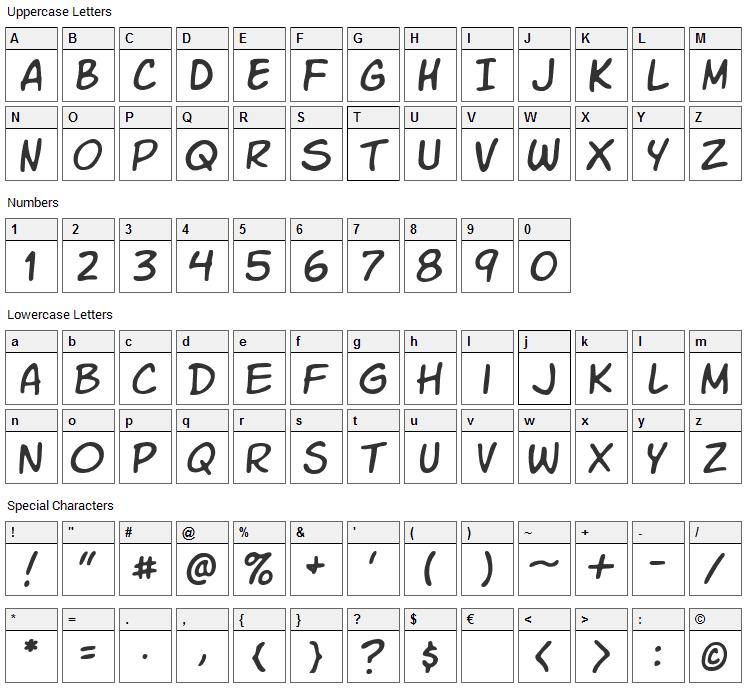 VTC Letterer Pro Font Character Map