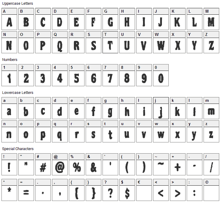 VTC Night of the dead corrupt Font Character Map