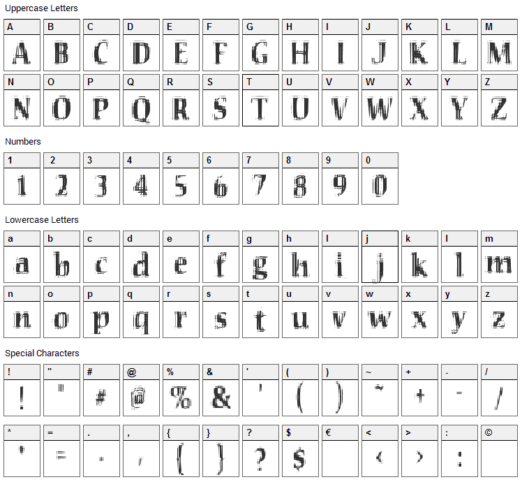 VTC Seeindubbledointriple Font Character Map