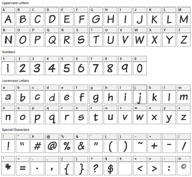 VTC Sunday Komix Font Character Map