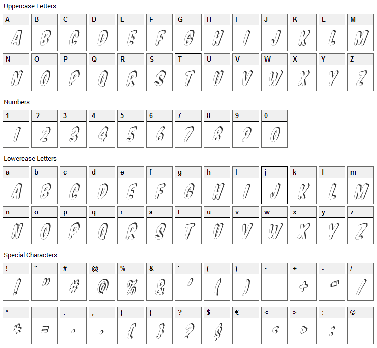 VTC Supermarket Sale Font Character Map