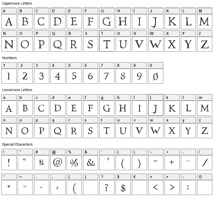 VTC Switchblade Romance Font Character Map
