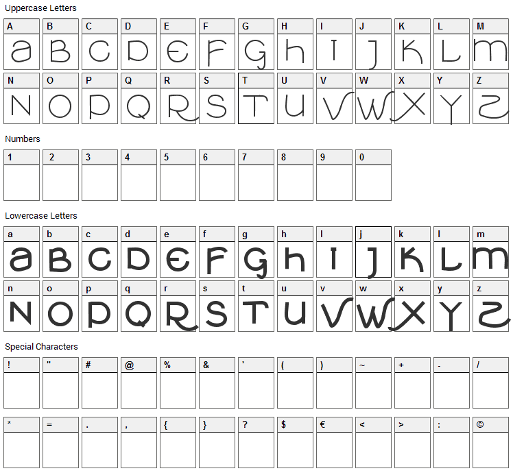 VTKS Clean Font Character Map