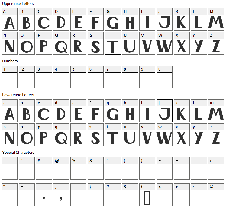 Wabene Font Character Map