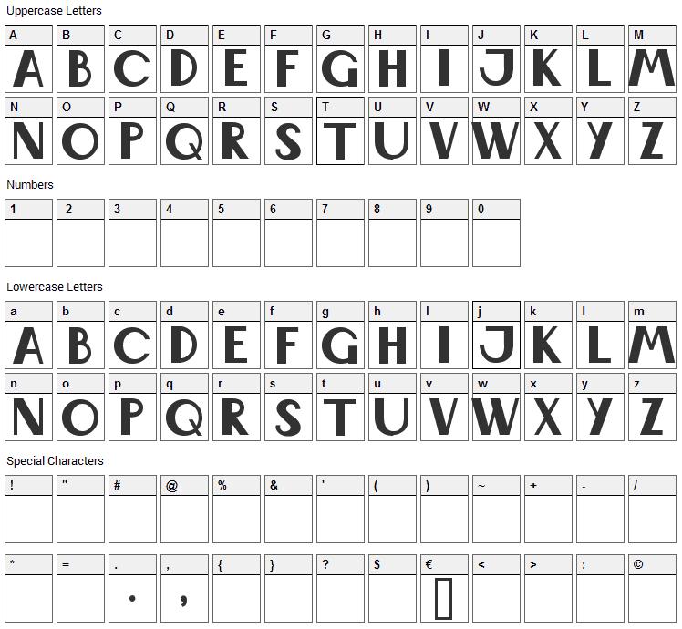 Wabene Font Character Map