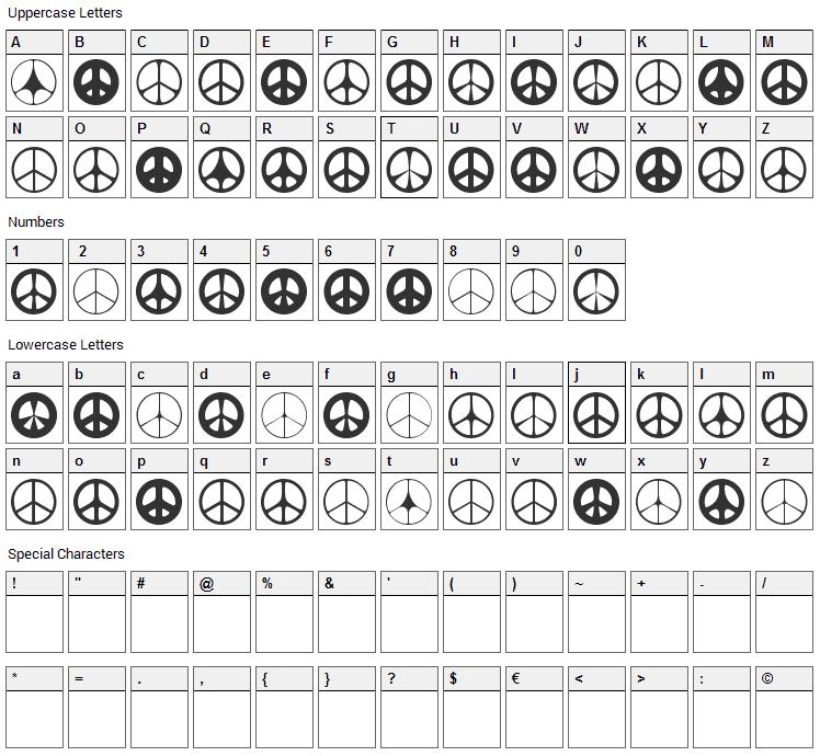 Wahei Font Character Map