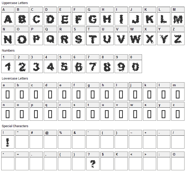 Wait and Bleed Font Character Map