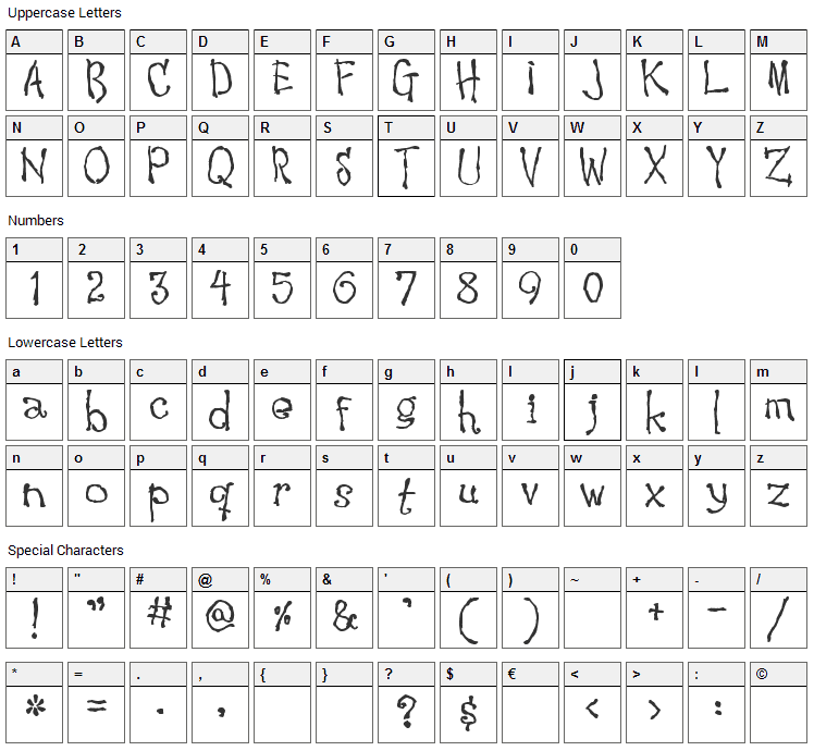 Waking the Witch Font Character Map