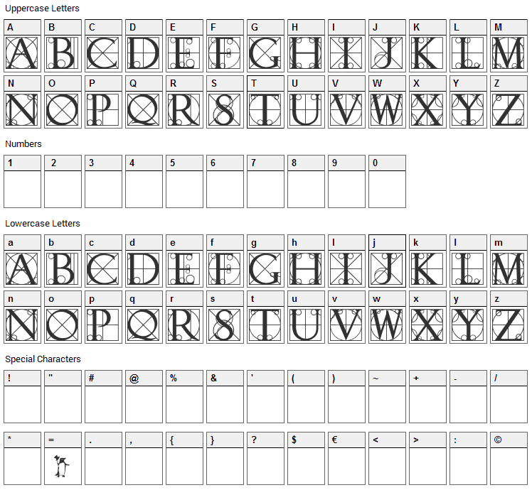 Walrod Font Character Map