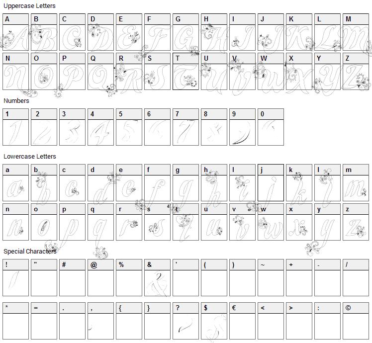 Wander Font Character Map