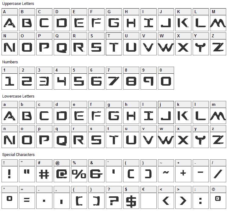 War Eagle Font Character Map