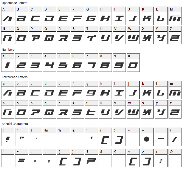 War Machine Font Character Map
