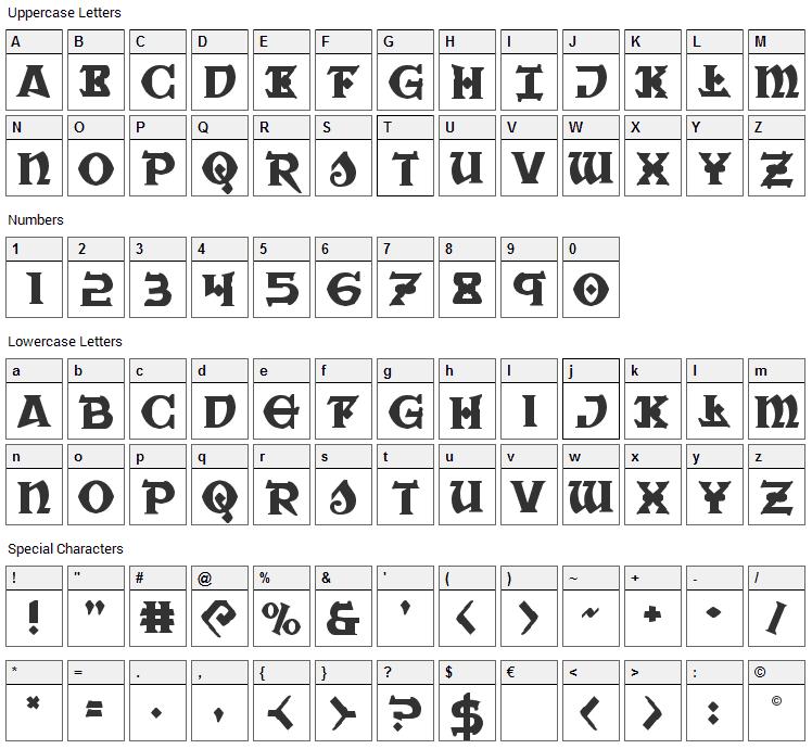 War Priest Font Character Map