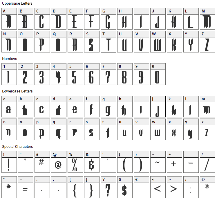 Warlock Font Character Map