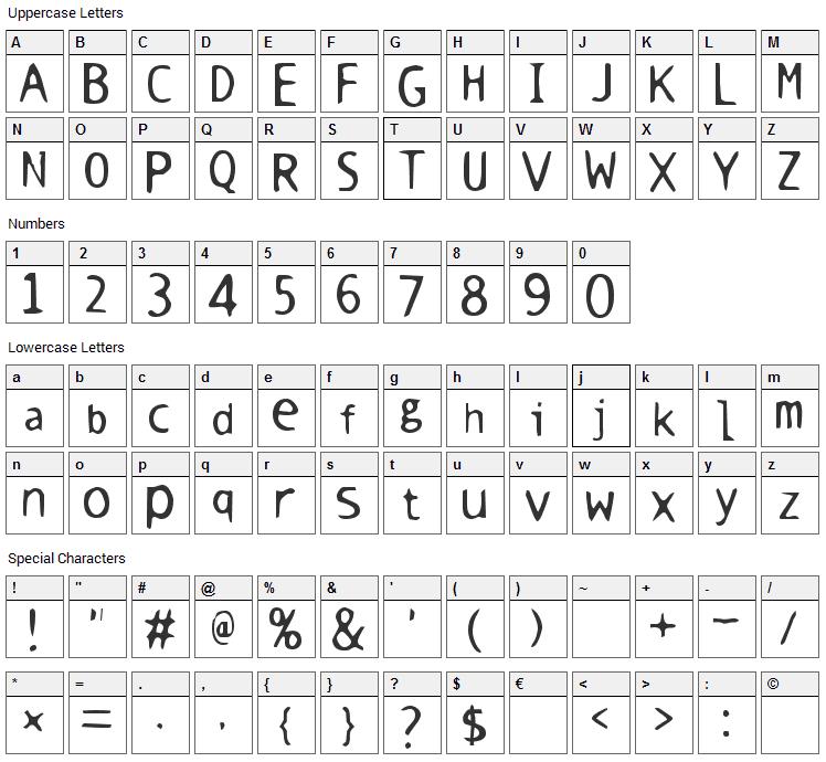 Warm Milk Font Character Map