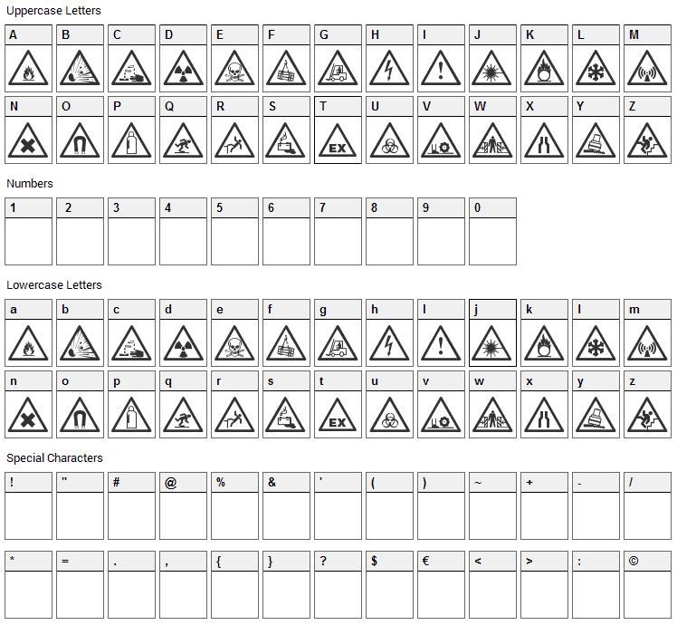 Warning Tables Font Character Map