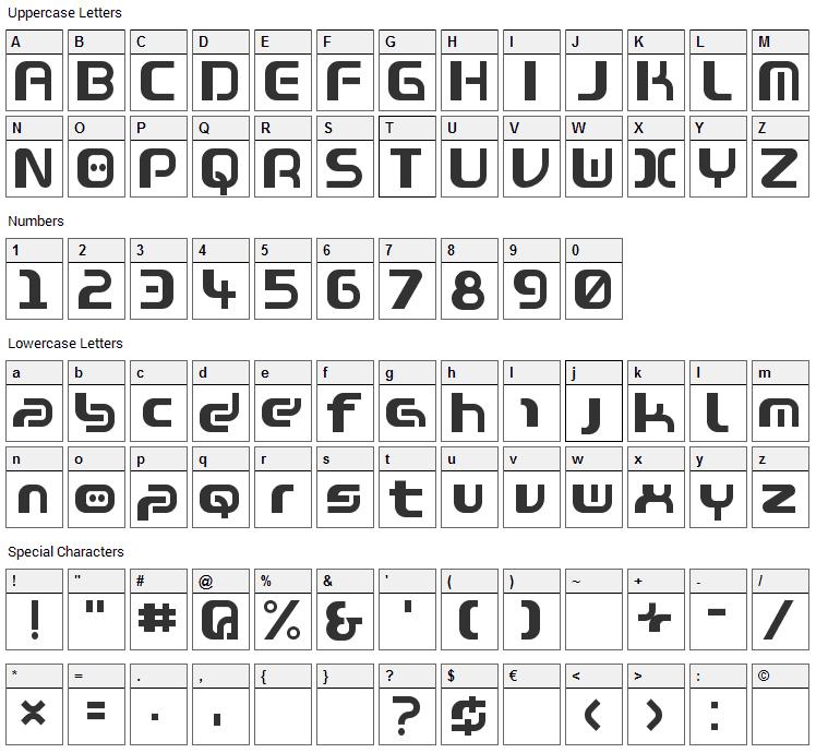 Warzone Font Character Map