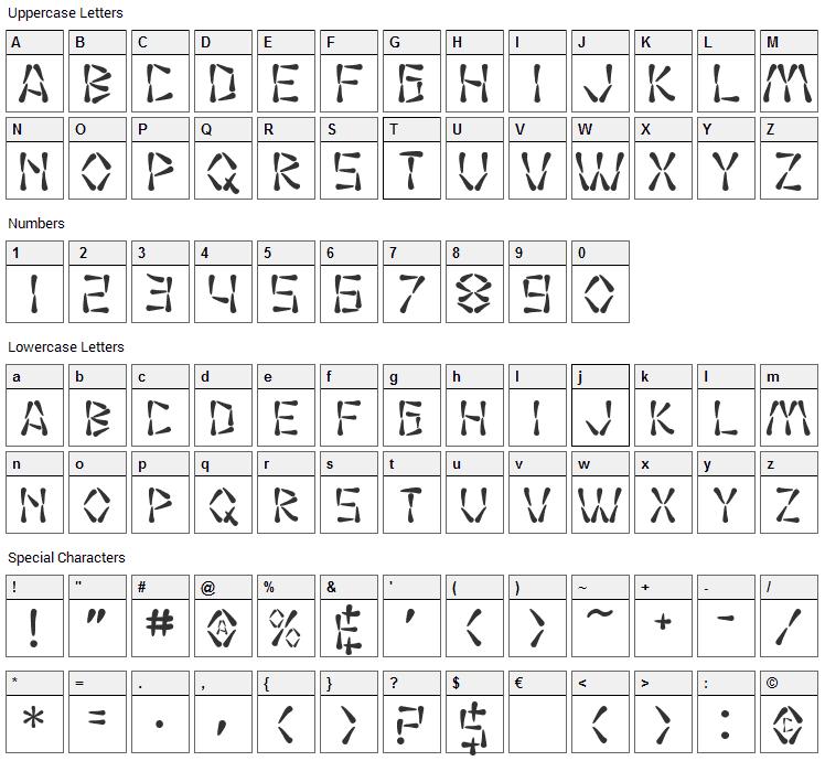 Wasabi Font Character Map