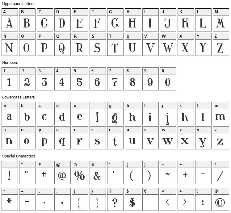 Waschkueche Font Character Map