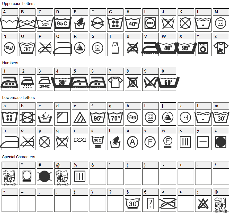 Wash Care Font Character Map