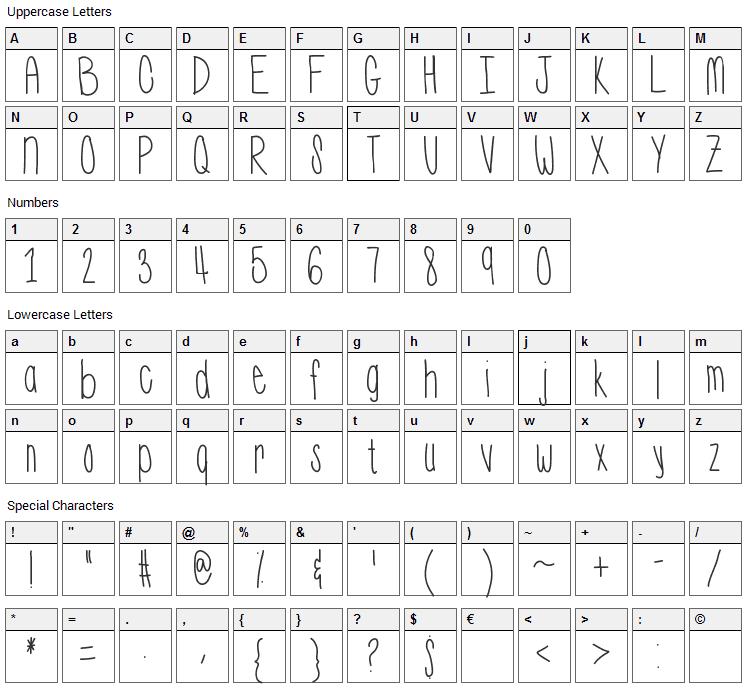 Wassup Font Character Map