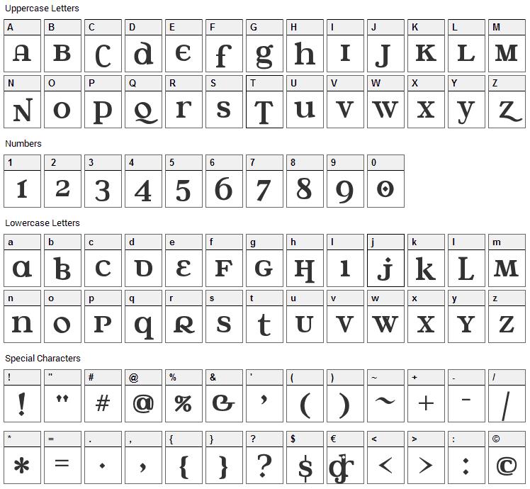 Water Street Detour Font Character Map