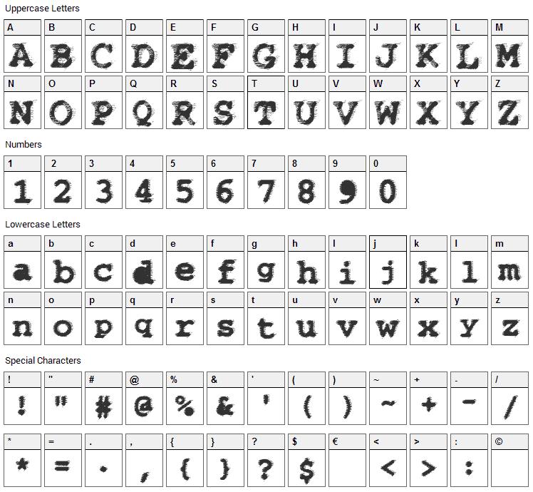 WBX Flack Font Character Map