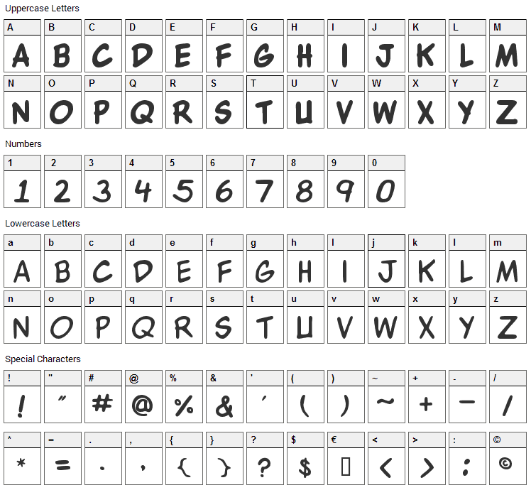 WBX Komik Font Character Map
