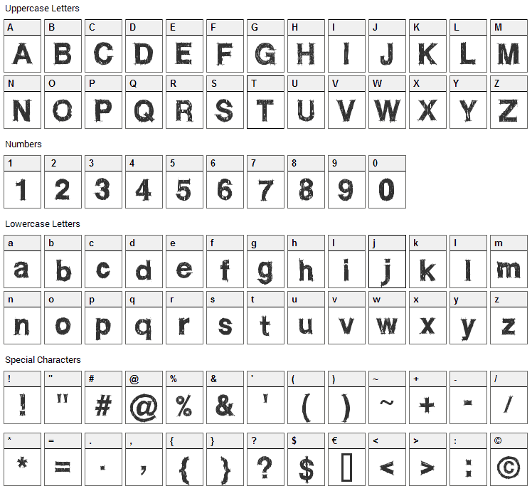WC RoughTrad Bta Font Character Map