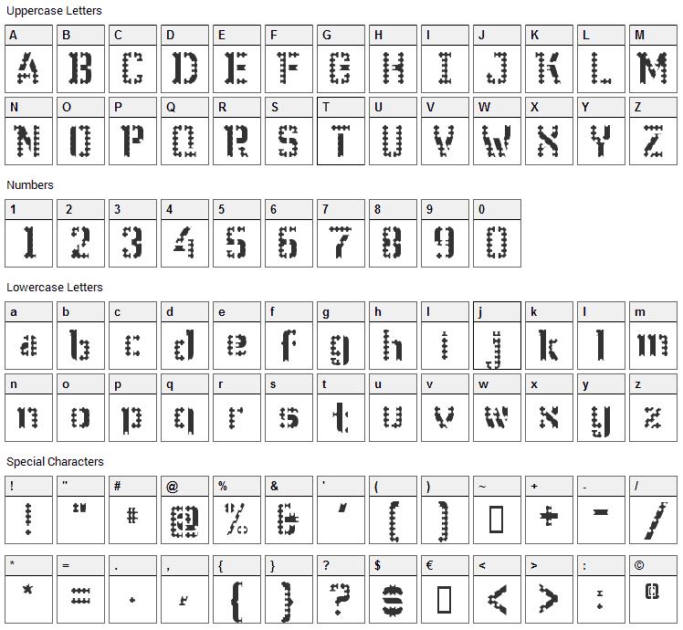WC Wunderbach Perfo Bta Font Character Map