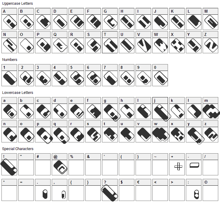 Wdrop07 Font Character Map