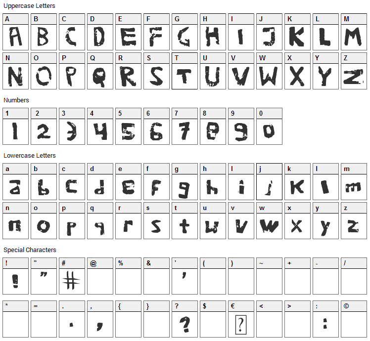 We are potatoes Font Character Map