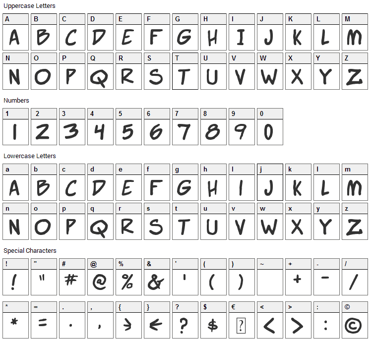 Webcomic Bros Font Character Map