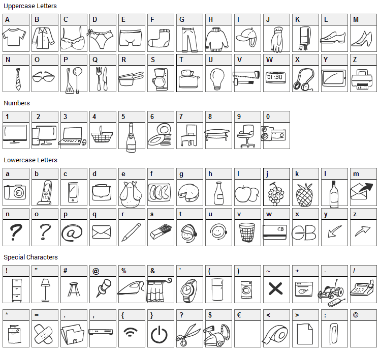 Webdesign Free Icons Font Character Map